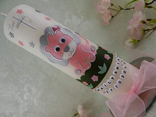 Taufkerze Löwe Kreuz Sterne silber rosa Taufkerzen Mädchen 250/70 mm inkl. Beschriftung