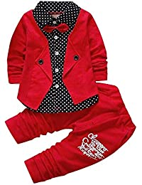 Si Noir by Hopscotch Boys Poly Cotton Applique Bow Formal Shirt and Pant Set in Red
