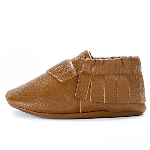 BirdRock Baby Mokassins weiche Sohle Leder Boys und Girls Schuhe für Kinder, Babys und Kleinkinder (große 1824 Monate US 6.5, braun)