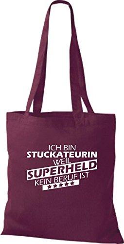 Shirtstown Stoffbeutel Ich bin Stuckateurin, weil Superheld kein Beruf ist weinrot