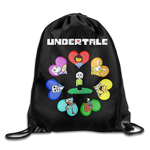 Undertale Role-Playing Video Game Logo Drawstring Bags Hiking White Backpack Sport Bag for Men & Women School Travel Backpack for Teens College White Sox Video