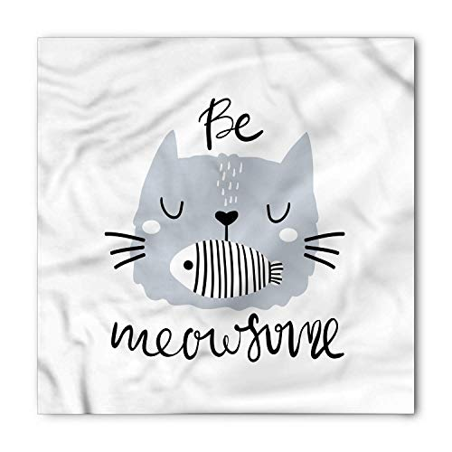 TKMSH Be Awesome Bandana, Cat with Fish in Mouth, Unisex Head and Neck Tie,Unisex Bandana Head and Neck Tie Neckerchief Headdress Silk-Like 100% Polyester -M
