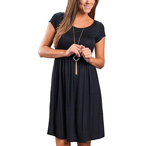 Closhion Women Simple Basic Tunic Dresses Knee Loose Midi Dress