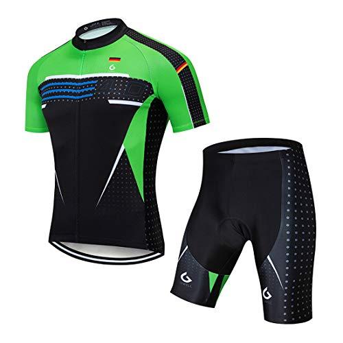 ot Atmungsaktive Fahrradbekleidung Set Trikot Kurzarm + Radhose mit Sitzpolster für Radsport Schwarz-Grün (Set mit Shorts) XL ()