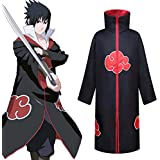Naruto with The Same Paragraph Akatsuki Cloak Japanese Anime Clothes Two-dimensional COSPLY Clothing Red Cloud Robe Cloak