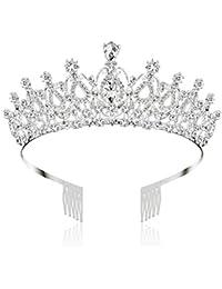 Makone Tiara Cristal Couronne avec Strass Peigne pour Couronne De Mariée Proms De Mariage Concours Princesse Parties Anniversaire