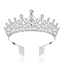Makone Crystal Tiara Crown with Rhinestones Comb for Wedding Bridal Crown Proms Pageants Princess Parties Birthday(Comb Style-5)