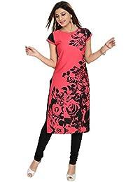 Dragaon Women's Poly Crepe Long Kurta-Red & Black