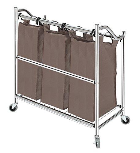 StorageManiac: 3-teiliger Korb aus Stahlrohr zum Sortieren von Wäsche mit beschichteten Träger- und Trennrahmen. -