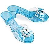 Katara - chaussures à talons d'Elsa - pour filles - chaussures de déguisement pour enfants/pantoufles Bleues à talon bobine avec diamant pour costume de Reine des Neiges - taille 29