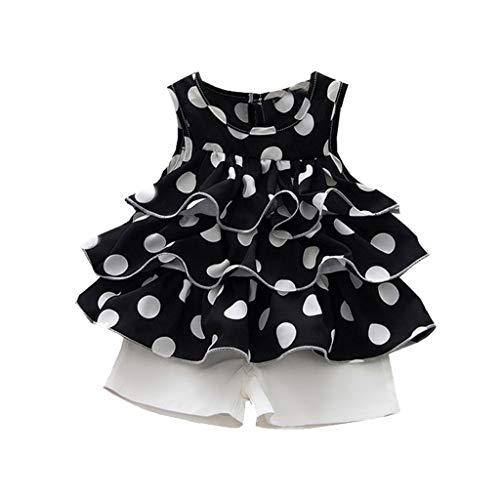 wuayi  Bekleidungssets für Baby-Mädchen, Mädchen ärmellose Rüschen Dot Print Kuchen Kleid T-Shirt + Shorts Kleidung 6 Monate - 3 Jahre