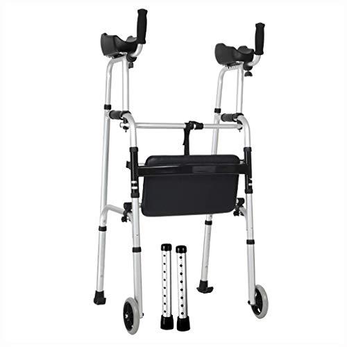 ZXL Aluminium Faltbarer Gehhilfe-Rollator mit Armstütze und Rad und Sitz Für ältere Menschen