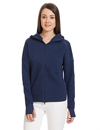 adidas Damen Z.N.E. Hoody, Collegiate Navy, L (Hoody Champions Sweatshirt Navy)