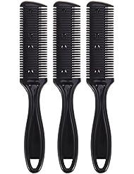 Frcolor Haarschneider Kamm, Double Side Hair Schneiden Trimmer Kamm mit Edelstahlklinge, Packung mit 3 (schwarz)