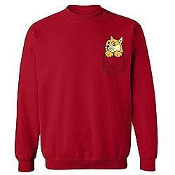 Pocket Doge Shibe Dog Print Funny Crew Neck Sweatshirt