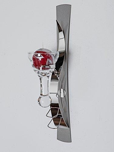 Moderne Wandleuchte Kerzenleuchte aus Metall silber Höhe 42 cm Kerze Wandleuchte Silber