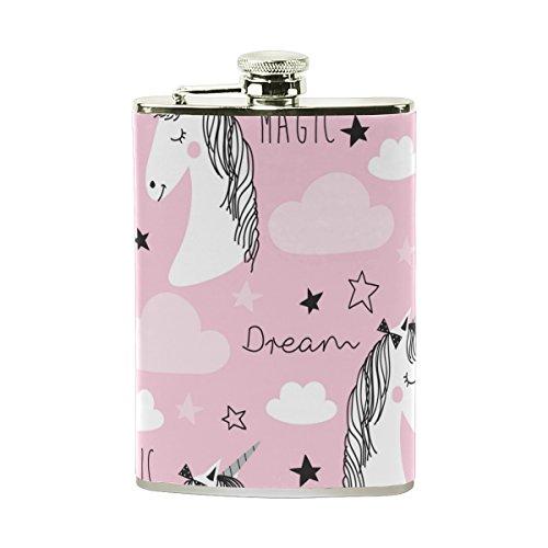 jeansame Personalisierte Hip Drink Fläschchen 8Oz aus Edelstahl für Damen Herren Cute Dream Einhörner rosa Sterne