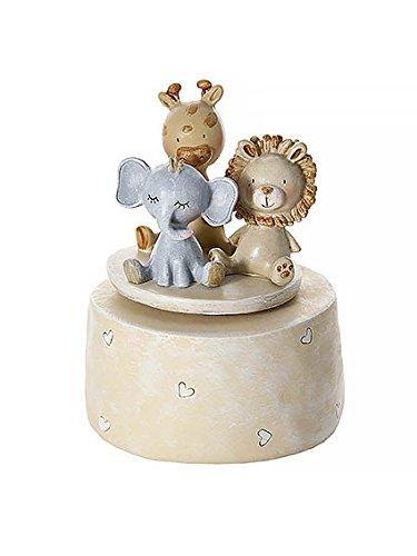Scatola musicale carillon Animali del Safari per bimbi e bimbe, ideale per baby shower e battesimi