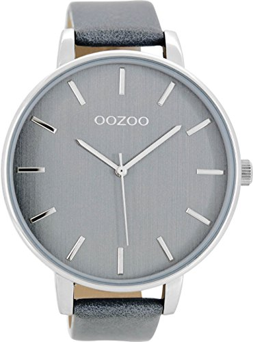 Oozoo Damenuhr mit Lederband 48 MM Graublau/Graublau C8662