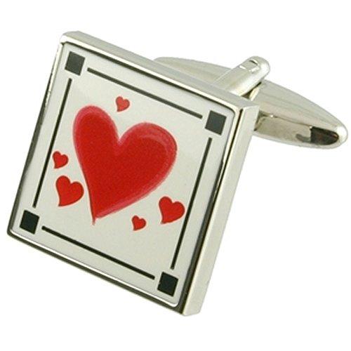 Collegamenti del bracciale Valentine gemelli~Amore cuore elegante Roamnce gemelli + fatto a mano custodia (Oro Cupido Cuore)