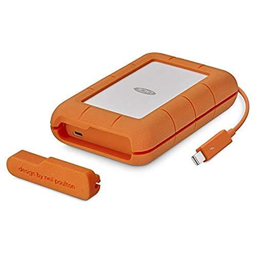 LaCie STFS2000800 Thunderbolt 2 TB Externe robuste Festplatte (6,4 cm (2,5 Zoll) Rugged, Staub-, Stoss- und Spritzwasser- geschützt, Thunderbolt und USB-C)