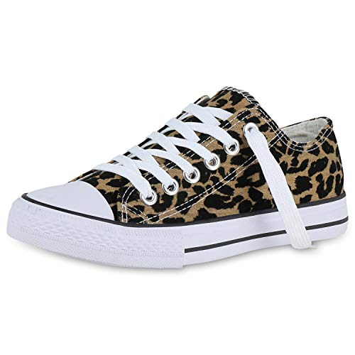 SCARPE VITA Damen Sneaker Low Basic Canvas Turnschuhe Sportschuhe Schnürer Freizeit Schuhe Schnürschuhe Flats 176738 Leopard 36