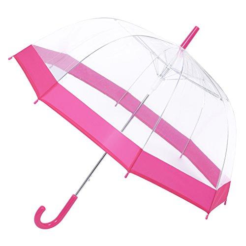 Regenschirm, kuppelförmig, durchsichtig–wind- und wasserdicht–stark, leicht rose