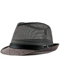 Sombrero De Paja De Los Hombres Moda Transpirable Seco Rápido Fácil Panamá  Gángster Sombrero para El 9987a32bff5