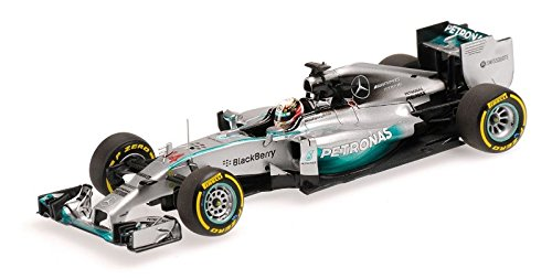 Minichamps 1:43 Scale ``2014 Mercedes AMGW05 Lewis Hamilton World Champion Abu Dhabi GP`` Car (Silver)