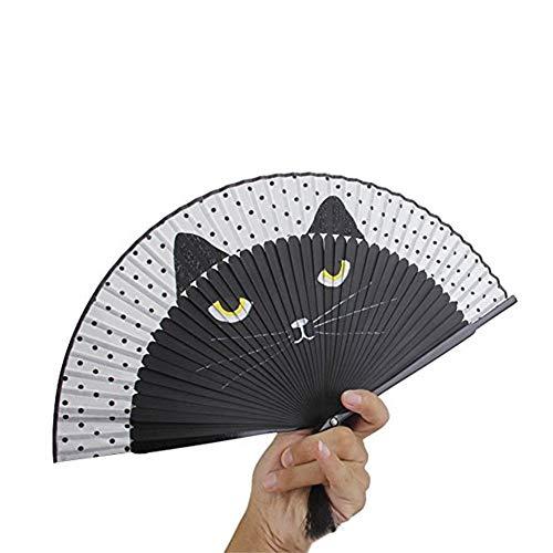 r Handventilator Für Frauen Cartoon Cat Folding Silk Fan Handventilator Chinesischen/Japanischen Vintage Retro Stil Für Hochzeit, Tanz, Kirche, Party, Geschenke ()