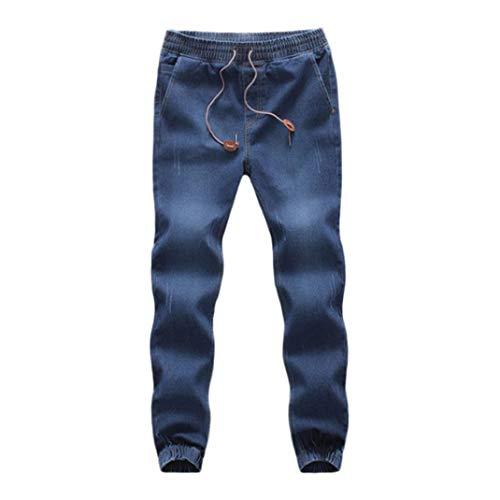 TEBAISE Herren Jogg Stoffhose Jogger Chino Hose Jeans Haremshose Denim Baggy Pants-Bund und Saum mit Gummizug(Dunkel blau,L) -