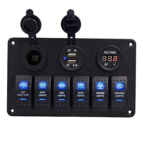 CONRAL 6 Gang Wippschalter Panel für RV Marine Auto Fahrzeuge LKW Boot Sicherung Panels, wasserdichte Digital Voltmeter Display Dual USB Ladeanschluss DC 12V Buchse 12 / 24V (Verdrahtung Boot Marine)