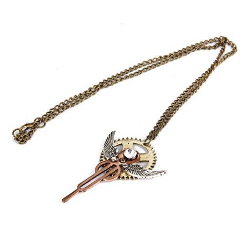 SteampunkGang Engel Flügel Anhänger Halskette Handwerk Antik Messing Kette (Schmuck Antik)