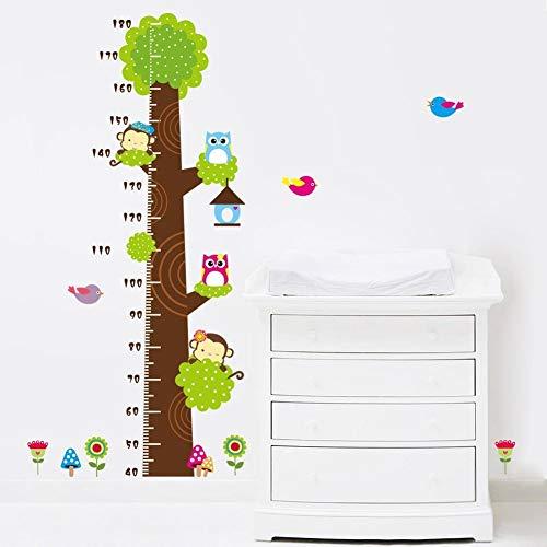 Metro adesivo da parete per registrare l'altezza, a forma di albero con gufi e scimmie, removibile, per misurare la crescita del bambino, decorazione per stanza dei bimbi Owl