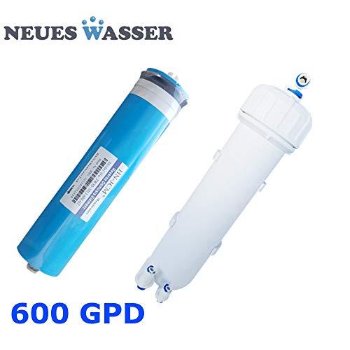 Neues Wasser Group Membrane 600 GPD + Membrangehäuse inkl. Anschluss-Fitting und Halter zu Osmoseanlagen Umkehrosmose-Membrane Wasserfilter Osmosefilter -