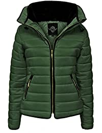 New Womens Ladies Fur Collared Hooded Quilted Padded Puffer Bubble Jacket Coat