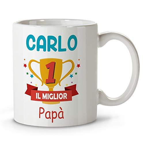 Lolapix tazza per papà personalizzata con il tuo nome o testo. vari disegni e colori interni. festa del papà regalo originale ed esclusivo. coppa papà