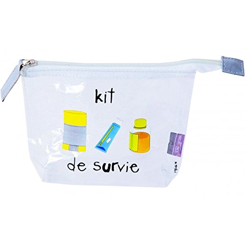 Incidence Paris 60573 Trousse de toilette Avion Kit de survie Avec flacons Transparent et multicolore Fermeture zip PVC, 19 cm, Transparent