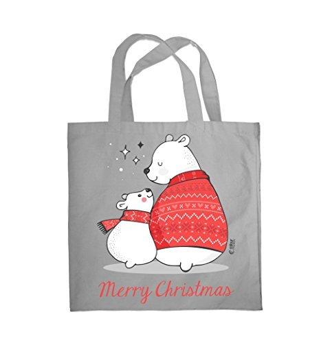 COLOUR FASHION Merry Christmas Grande e piccolo Bears SPESA BORSA DA SPIAGGIA BORSA 0089 Grigio