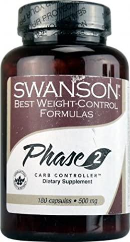 Swanson Diet Phase 2 Carb Controller White Kidney Bean Extract (500mg, 180 Capsules)