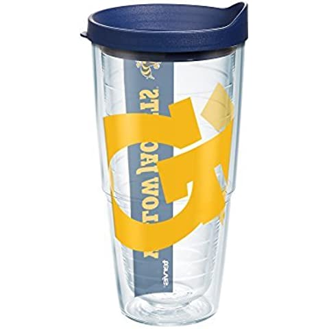 Tervis 1093046 Georgia Tech Colossal Wrap Individual Tumbler with Navy lid, 24 oz, Clear by Tervis