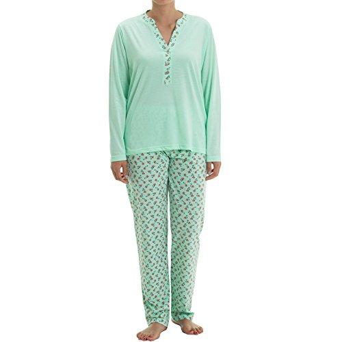 Zeitlos Pyjama Set Nora langarm mit Knopfleiste und Blütendruck am Kragen und Hose Schlafanzug V-Ausschnitt Hausanzug (XL, Mint)