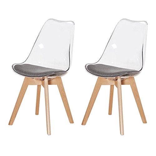 dorafair lot de 2 chaise de cuisine pour salle manger design scandinave avec pieds en - Chaise Transparente Pied Bois