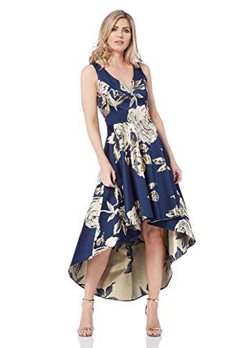 Roman Originals Blumiges Jacquard-Kleid mit asymmetrischem Saum - Damen mittellange, ärmellose Skater-Kleider für Party, Abschlussfeier, Abendveranstaltungen, Tanz - Marine-Blau - Größe 46 Jacquard-kleid