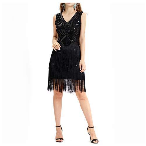 Balock Robes Femme Flapper V Neck des années 1920 Perles frisées Grande Robe Gatsby, Femmes 1920 Gatsby Diamant Paillette Frange Sparkly Robe Charleston (M, Noir)