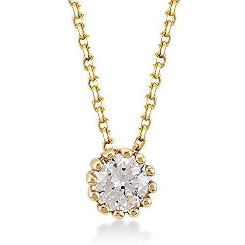Damen Gold Halskette aus 14 Karat - 585 Echt Gelbgold mit Zirkonia Stein Solitär Anhänger Geschenk für Geburtstag Weihnachten- Kette 45 cm - Winzige Gold-charme-halskette