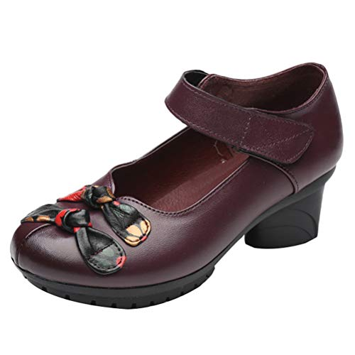 Mallimoda Damen Mary Jane Schuhe Weinlese Blume Lederschuhe Pumps Klettverschluss Ballerinas Casual Slippers Lila EU 40=Asian 41 - Purple Schuhe Mary Jane
