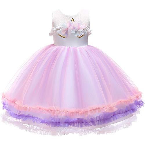 Mädchen Einhorn Blume Kleid Cosplay Hochzeit Geburtstagsfeier Party Kostüm Prinzessin Kleider für kinder/3T (Kinder-kostüm-3t)