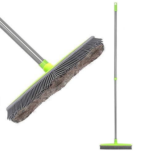 Livedeal - Escoba de goma larga con cerdas para limpiar el pelo de mascotas, gatos, perros, alfombras de madera dura y ventanas, verde