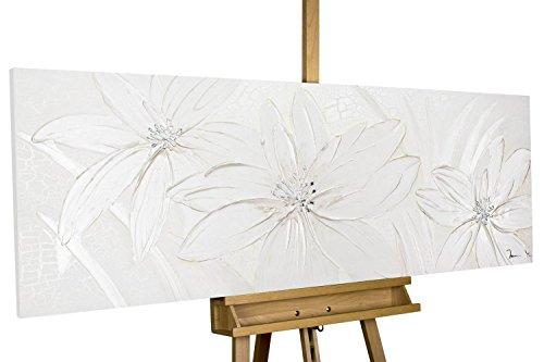 KunstLoft Acryl-Gemälde \'Frozen Flowers\' 150x50cm | original handgemalte Leinwand Bilder XXL | Abstrakt Muster Weiß Blumen | Wandbild Acrylbild moderne Kunst einteilig mit Rahmen